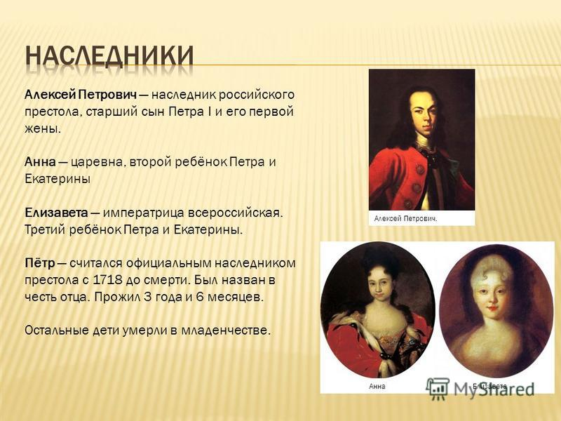 Алексей Петрович наследник российского престола, старший сын Петра I и его первой жены. Анна царевна, второй ребёнок Петра и Екатерины Елизавета императрица всероссийская. Третий ребёнок Петра и Екатерины. Пётр считался официальным наследником престо