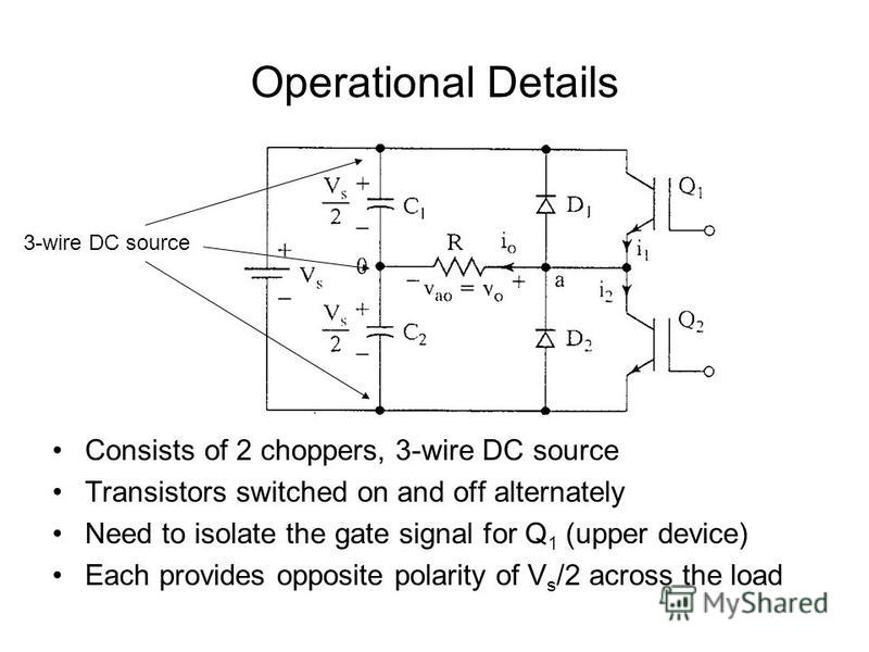 Operational Details Consists of 2 choppers, 3-wire DC source Transistors switched on and off alternately Need to isolate the gate signal for Q 1 (upper device) Each provides opposite polarity of V s /2 across the load 3-wire DC source