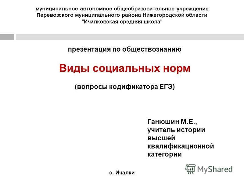 муниципальное автономное общеобразовательное учреждение Перевозского муниципального района Нижегородской области