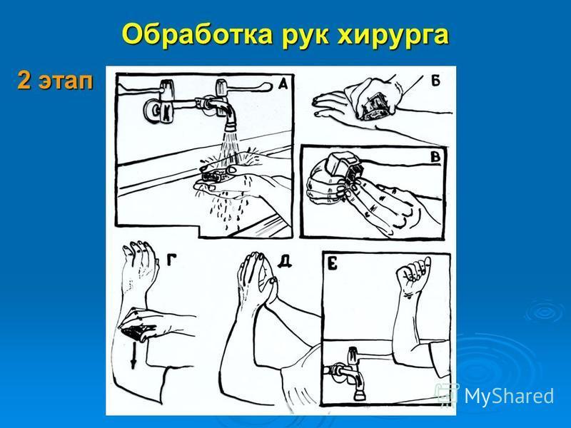 Обработка рук хирурга 2 этап