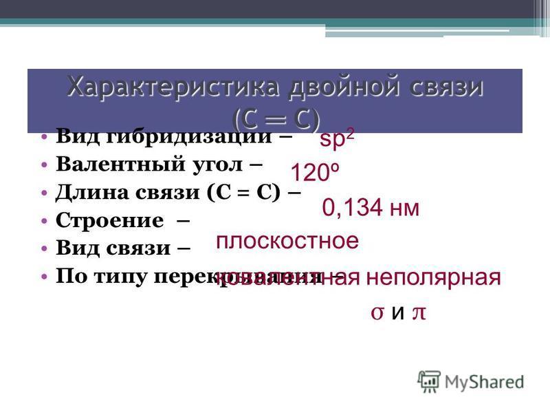Характеристика двойной связи (С С) Вид гибридизации – Валентный угол – Длина связи (С = С) – Строение – Вид связи – По типу перекрывания – sp 2 120º 0,134 нм плоскостное ковалентная неполярная σ и π