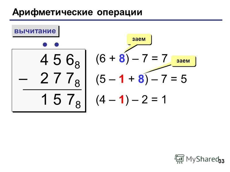33 Арифметические операции вычитание 4 5 6 8 – 2 7 7 8 4 5 6 8 – 2 7 7 8 (6 + 8) – 7 = 7 (5 – 1 + 8) – 7 = 5 (4 – 1) – 2 = 1 заем 7878 15