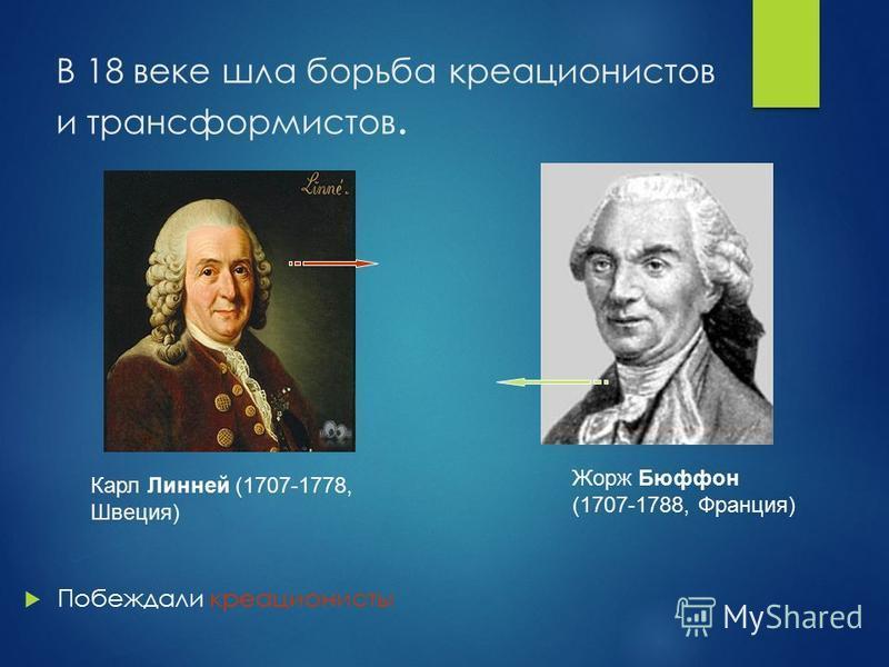 В 18 веке шла борьба креационистов и трансформистов. Побеждали креационисты Карл Линней (1707-1778, Швеция) Жорж Бюффон (1707-1788, Франция)