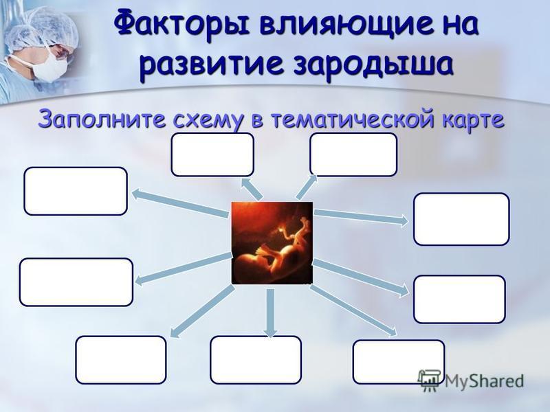 Факторы влияющие на развитие зародыша Заполните схему в тематической карте