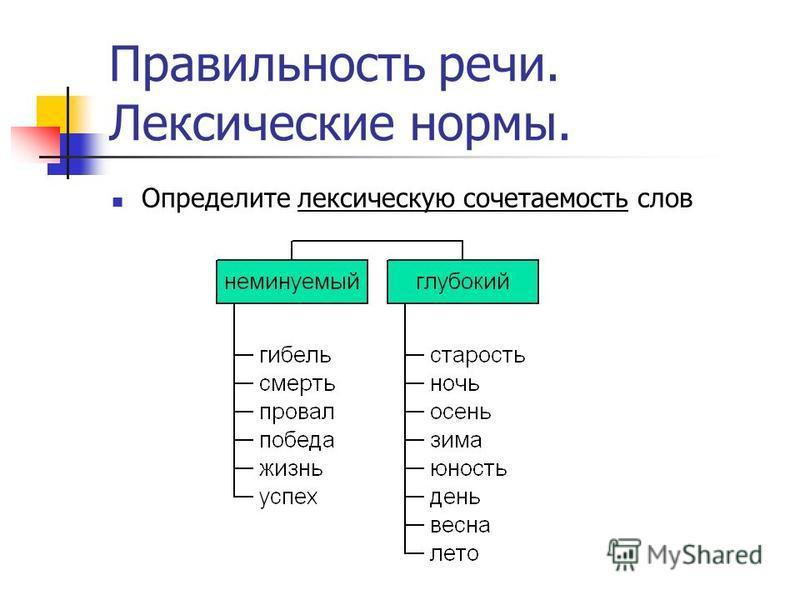 Правильность речи. Лексические нормы. Определите лексическую сочетаемость слов