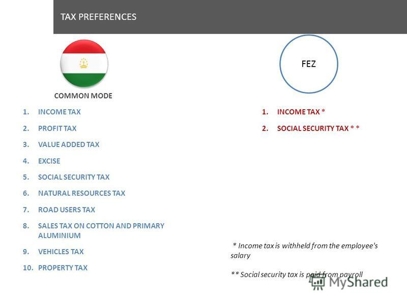 TAX PREFERENCES 1.INCOME TAX 2.PROFIT TAX 3.VALUE ADDED TAX 4.EXCISE 5.SOCIAL SECURITY TAX 6.NATURAL RESOURCES TAX 7.ROAD USERS TAX 8.SALES TAX ON COTTON AND PRIMARY ALUMINIUM 9.VEHICLES TAX 10.PROPERTY TAX COMMON MODE 1.INCOME TAX * 2.SOCIAL SECURIT