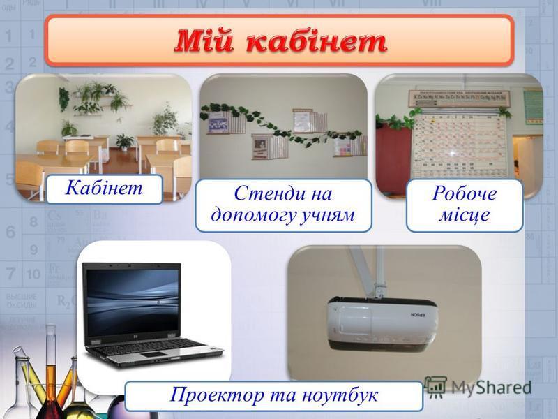 Кабінет Стенди на допомогу учням Робоче місце Проектор та ноутбук