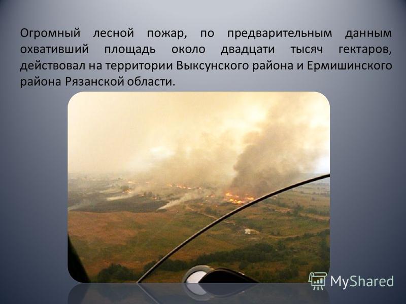 Огромный лесной пожар, по предварительным данным охвативший площадь около двадцати тысяч гектаров, действовал на территории Выксунского района и Ермишинского района Рязанской области.