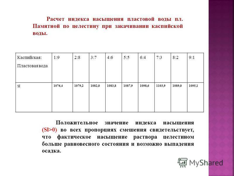 Каспийская: Пластовая вода 1:92:83:74:65:56:47:38:29:1 Sl 1076,41079,21082,01083,81087,91098,61103,91089,01095,1 Положительное значение индекса насыщения (Sl>0) во всех пропорциях смешения свидетельствует, что фактическое насыщение раствора целестино