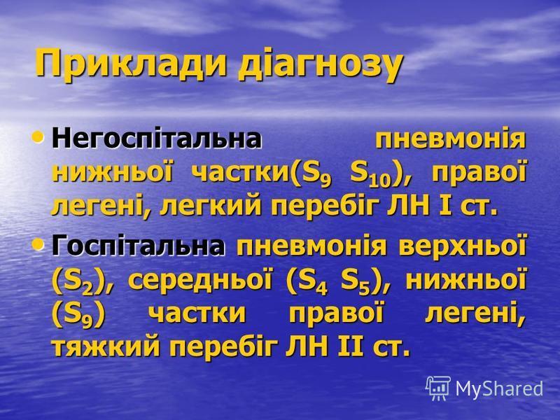 Приклади діагнозу Негоспітальна пневмонія нижньої частки(S 9 S 10 ), правої легені, легкий перебіг ЛН І ст. Негоспітальна пневмонія нижньої частки(S 9 S 10 ), правої легені, легкий перебіг ЛН І ст. Госпітальна пневмонія верхньої (S 2 ), середньої (S