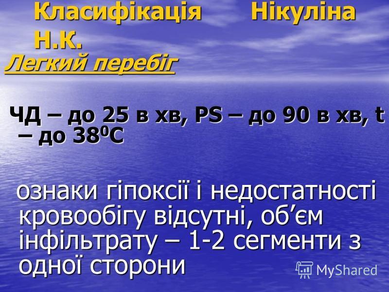 Класифікація Нікуліна Н.К. Легкий перебіг ЧД – до 25 в хв, РS – до 90 в хв, t – до 38 0 C ЧД – до 25 в хв, РS – до 90 в хв, t – до 38 0 C ознаки гіпоксії і недостатності кровообігу відсутні, обєм інфільтрату – 1-2 сегменти з одної сторони ознаки гіпо