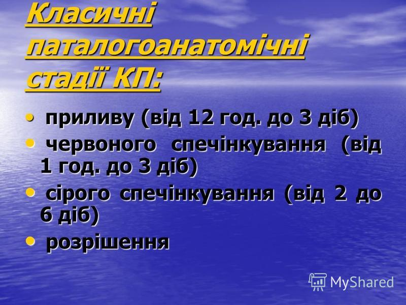 Класичні паталогоанатомічні стадії КП: приливу (від 12 год. до 3 діб) приливу (від 12 год. до 3 діб) червоного спечінкування (від 1 год. до 3 діб) червоного спечінкування (від 1 год. до 3 діб) сірого спечінкування (від 2 до 6 діб) сірого спечінкуванн