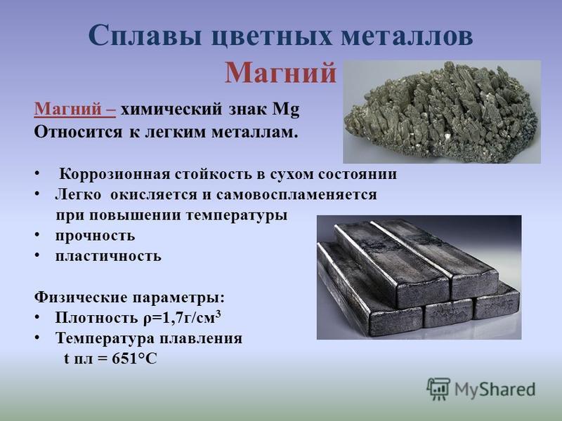 Сплавы цветных металлов Магний Магний – химический знак Mg Относится к легким металлам. Коррозионная стойкость в сухом состоянии Легко окисляется и самовоспламеняется при повышении температуры прочность пластичность Физические параметры: Плотность ρ=