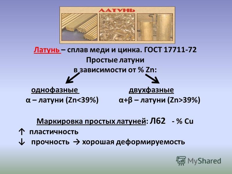 Латунь – сплав меди и цинка. ГОСТ 17711-72 Простые латуни в зависимости от % Zn: однофазные двухфазные α – латуни (Zn 39%) Маркировка простых латуней: Л62 - % Cu пластичность прочность хорошая деформируемость