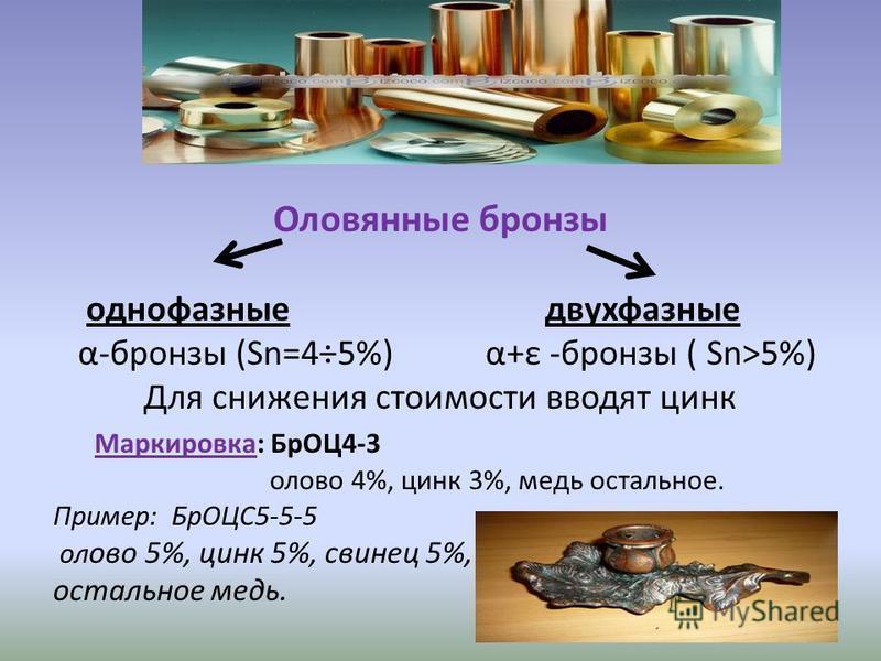 Оловянные бронзы однофазные двухфазные α-бронзы (Sn=4÷5%) α+ε -бронзы ( Sn>5%) Для снижения стоимости вводят цинк Маркировка: БрОЦ4-3 олово 4%, цинк 3%, медь остальное. Пример: БрОЦС5-5-5 олово 5%, цинк 5%, свинец 5%, остальное медь.