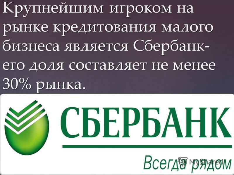 Крупнейшим игроком на рынке кредитования малого бизнеса является Сбербанк- его доля составляет не менее 30% рынка.