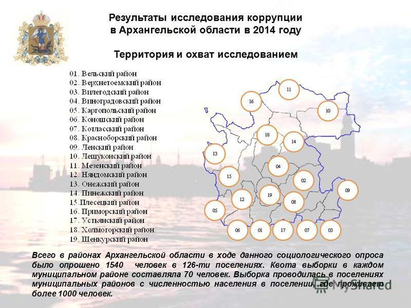 Результаты исследования коррупции в Архангельской области в 2014 году Территория и охват исследованием Всего в районах Архангельской области в ходе данного социологического опроса было опрошено 1540 человек в 126-ти поселениях. Квота выборки в каждом