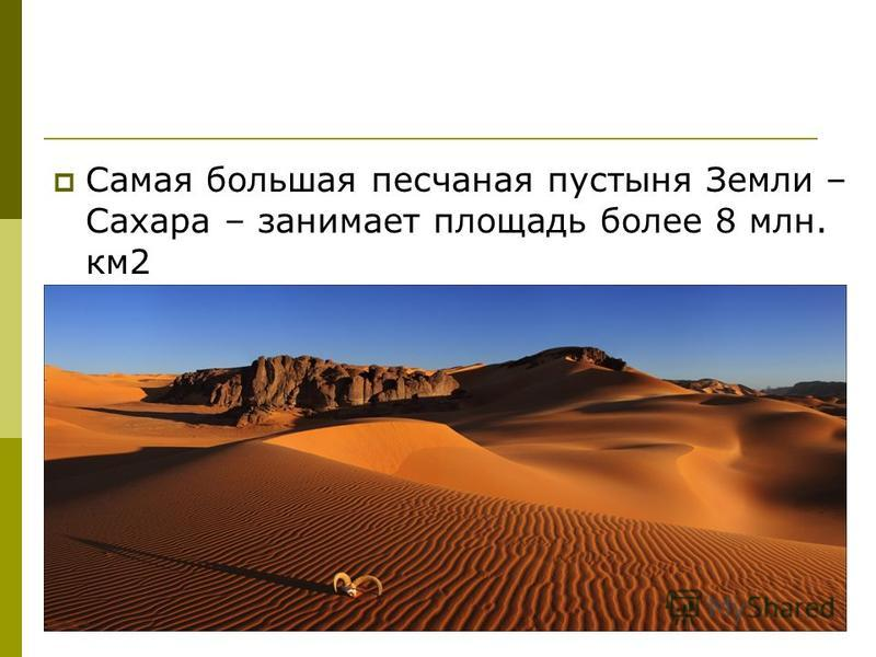 Самая большая песчаная пустыня Земли – Сахара – занимает площадь более 8 млн. км 2