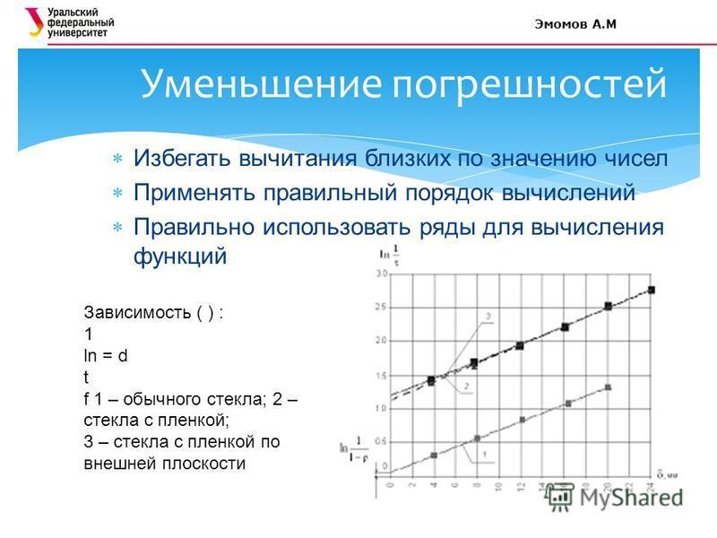 Избегать вычитания близких по значению чисел Применять правильный порядок вычислений Правильно использовать ряды для вычисления функций Уменьшение погрешностей Зависимость ( ) : 1 ln = d t f 1 – обычного стекла; 2 – стекла с пленкой; 3 – стекла с пле