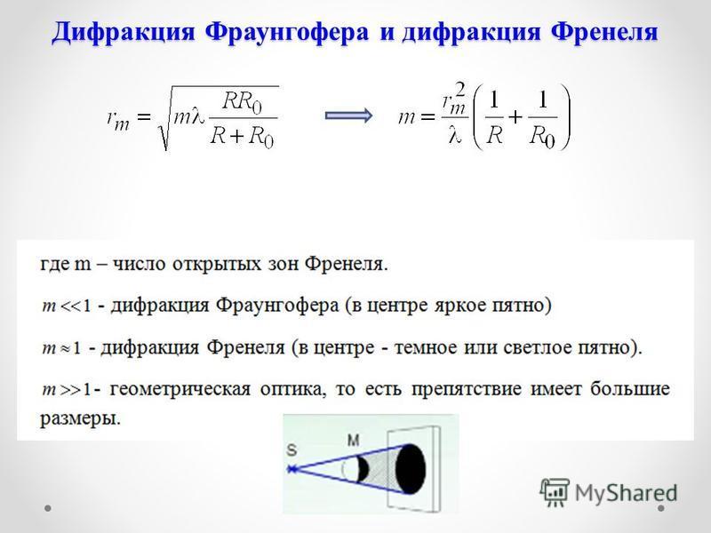 Дифракция Фраунгофера и дифракция Френеля