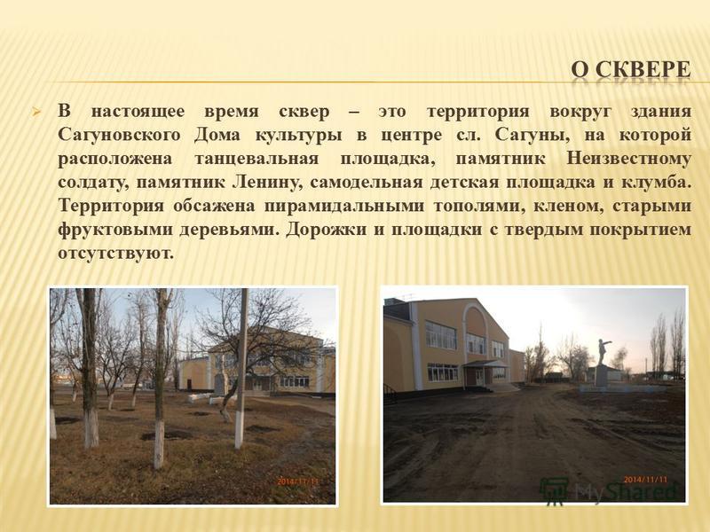 В настоящее время сквер – это территория вокруг здания Сагуновского Дома культуры в центре сл. Сагуны, на которой расположена танцевальная площадка, памятник Неизвестному солдату, памятник Ленину, самодельная детская площадка и клумба. Территория обс