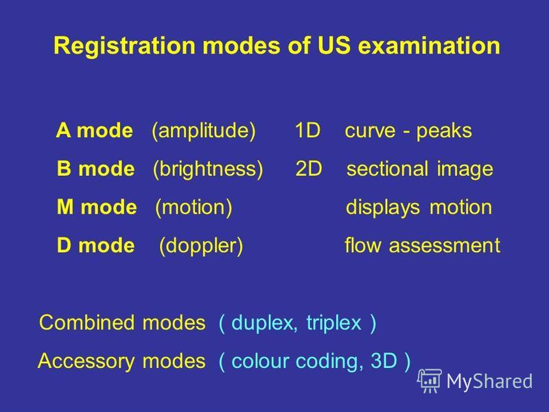 Registration modes of US examination A mode (amplitude) 1D curve - peaks B mode (brightness) 2D sectional image M mode (motion) displays motion D mode (doppler) flow assessment Combined modes ( duplex, triplex ) Accessory modes ( colour coding, 3D )