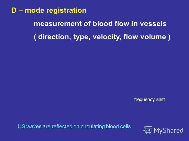 D – mode registration measurement of blood flow in vessels ( direction, type, velocity, flow volume ) US waves are reflected on circulating blood cells frequency shift