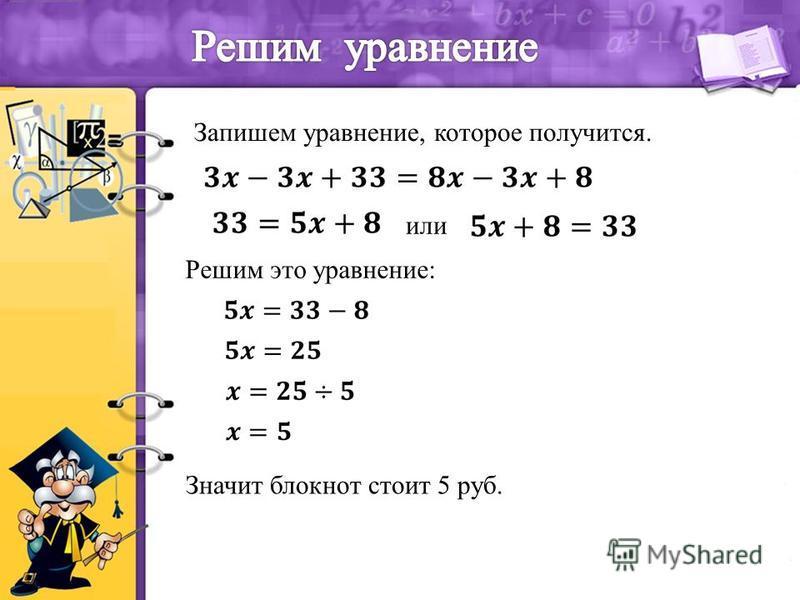 Запишем уравнение, которое получится. или Решим это уравнение: Значит блокнот стоит 5 руб.