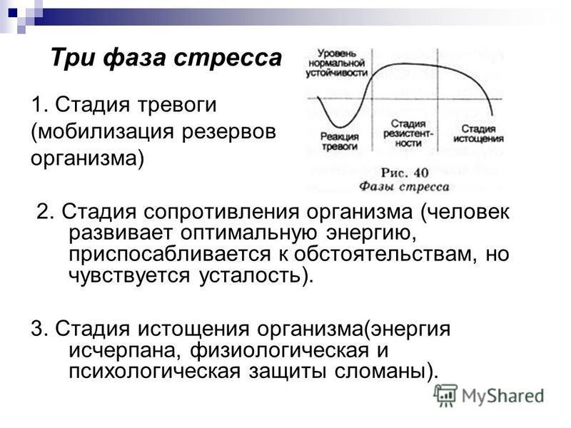 Три фаза стресса 1. Стадия тревоги (мобилизация резервов организма) 2. Стадия сопротивления организма (человек развивает оптимальную энергию, приспосабливается к обстоятельствам, но чувствуется усталость). 3. Стадия истощения организма(энергия исчерп