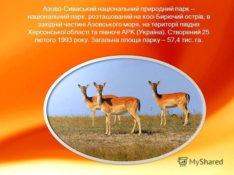 Азово-Сиваський національний природний парк національний парк, розташований на косі Бирючий острів, в західній частині Азовського моря, на території півдня Херсонської області та півночі АРК (Україна). Створений 25 лютого 1993 року. Загальна площа па