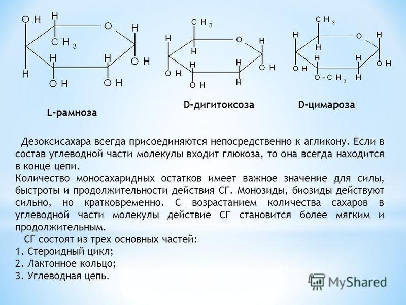 L-рамноза D-дигитоксоза D-цимароза Дезоксисахара всегда присоединяются непосредственно к агликону. Если в состав углеводной части молекулы входит глюкоза, то она всегда находится в конце цепи. Количество моносахаридных остатков имеет важное значение