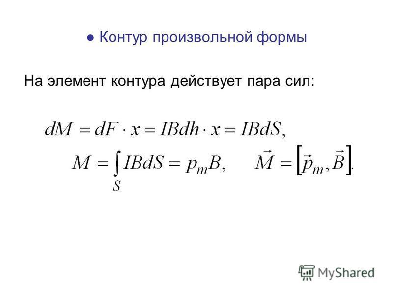 На элемент контура действует пара сил: