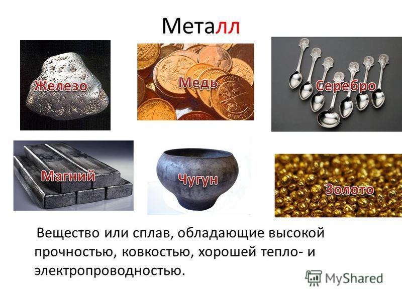 Металл Вещество или сплав, обладающие высокой прочностью, ковкостью, хорошей тепло- и электропроводностью.