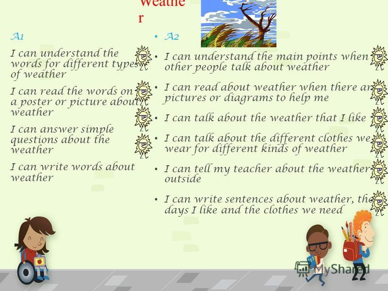 Weathe r A2 I can understand the main points when other people talk about weather I can read about weather when there are pictures or diagrams to help me I can talk about the weather that I like I can talk about the different clothes we wear for diff
