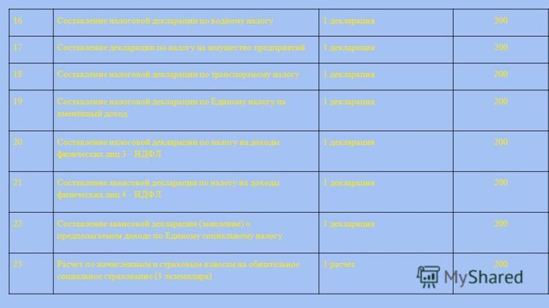16Составление налоговой декларации по водному налогу 1 декларация 200 17Составление декларации по налогу на имущество предприятий 1 декларация 200 18Составление налоговой декларации по транспортному налогу 1 декларация 200 19 Составление налоговой де