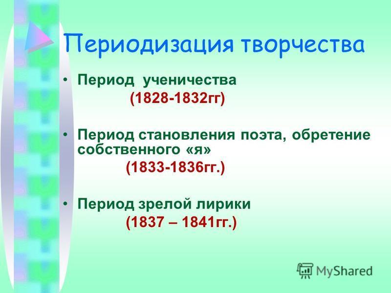 Периодизация творчества Период ученичества (1828-1832 гг) Период становления поэта, обретение собственного «я» (1833-1836 гг.) Период зрелой лирики (1837 – 1841 гг.)