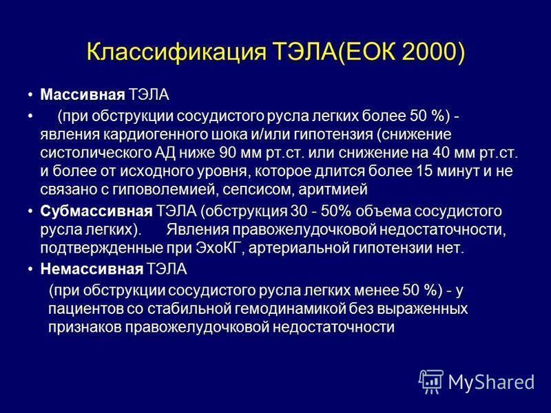 Классификация ТЭЛА(ЕОК 2000) Массивная ТЭЛА (при обструкции сосудистого русла легких более 50 %) - явления кардиогенного шока и/или гипотензия (снижение систолического АД ниже 90 мм рт.ст. или снижение на 40 мм рт.ст. и более от исходного уровня, кот