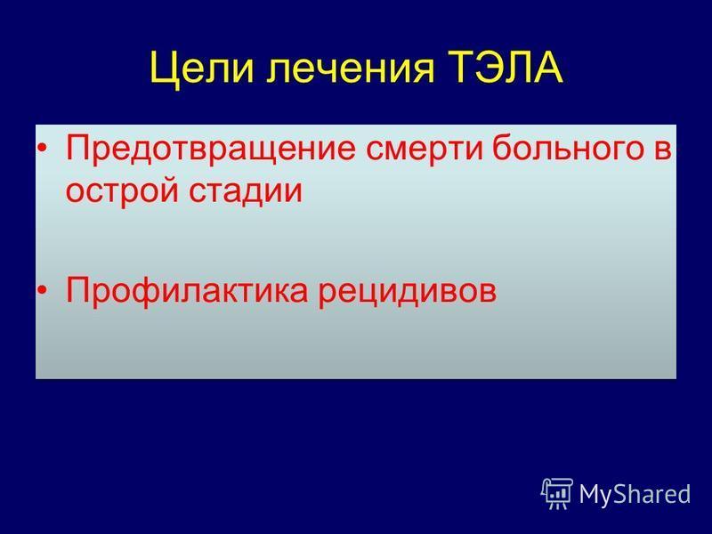 Цели лечения ТЭЛА Предотвращение смерти больного в острой стадии Профилактика рецидивов Предотвращение смерти больного в острой стадии Профилактика рецидивов