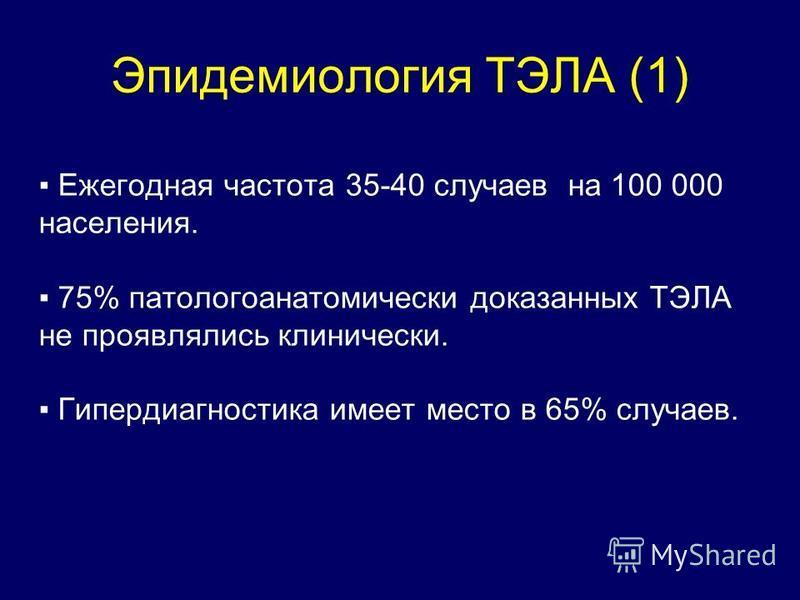 Эпидемиология ТЭЛА (1) Ежегодная частота 35-40 случаев на 100 000 населения. 75% патологоанатомический доказанных ТЭЛА не проявлялись клинически. Гипердиагностика имеет место в 65% случаев.
