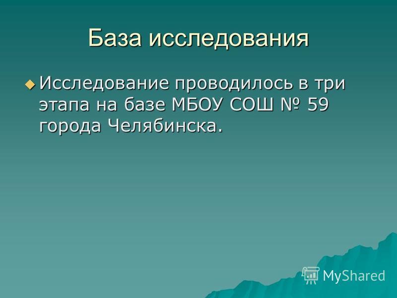 База исследования Исследование проводилось в три этапа на базе МБОУ СОШ 59 города Челябинска. Исследование проводилось в три этапа на базе МБОУ СОШ 59 города Челябинска.