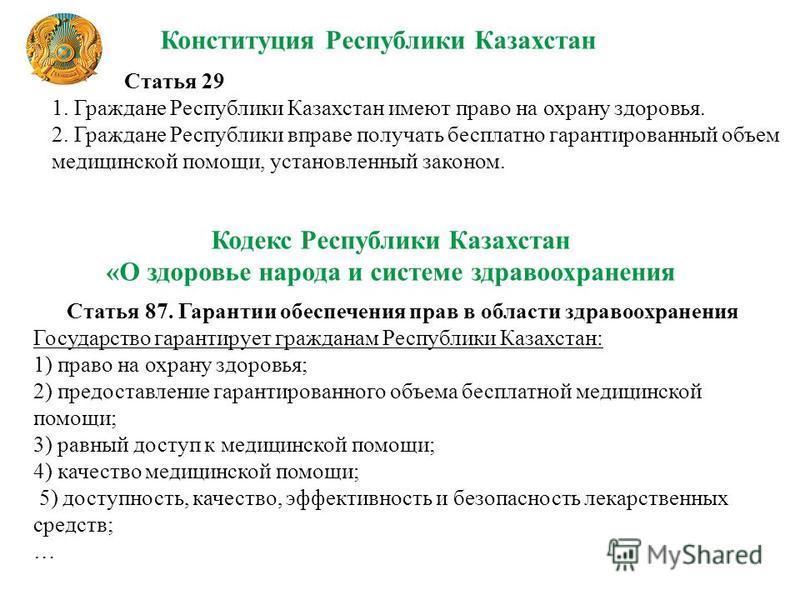 Статья 29 1. Граждане Республики Казахстан имеют право на охрану здоровья. 2. Граждане Республики вправе получать бесплатно гарантированный объем медицинской помощи, установленный законом. Конституция Республики Казахстан Статья 87. Гарантии обеспече