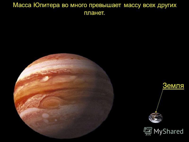 Масса Юпитера во много превышает массу всех других планет. Земля