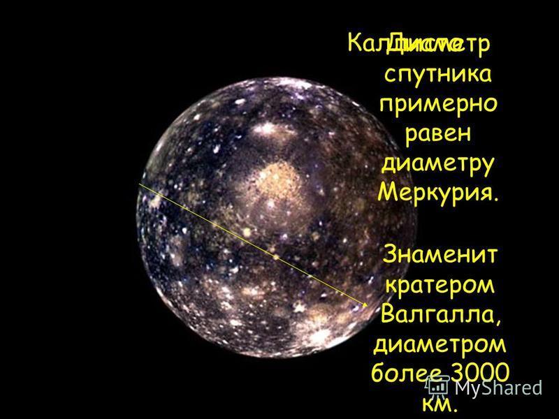 Каллисто Диаметр спутника примерно равен диаметру Меркурия. Знаменит кратером Валгалла, диаметром более 3000 км.