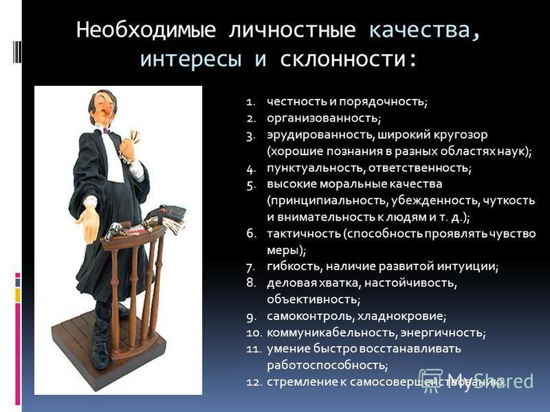 Необходимые личностные качества, интересы и склонности: 1. честность и порядочность; 2.организованность; 3.эрудированность, широкий кругозор (хорошие познания в разных областях наук); 4.пунктуальность, ответственность; 5. высокие моральные качества (