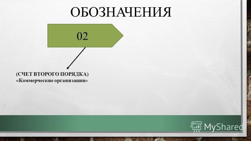 ОБОЗНАЧЕНИЯ (СЧЕТ ВТОРОГО ПОРЯДКА) «Коммерческие организации» 02