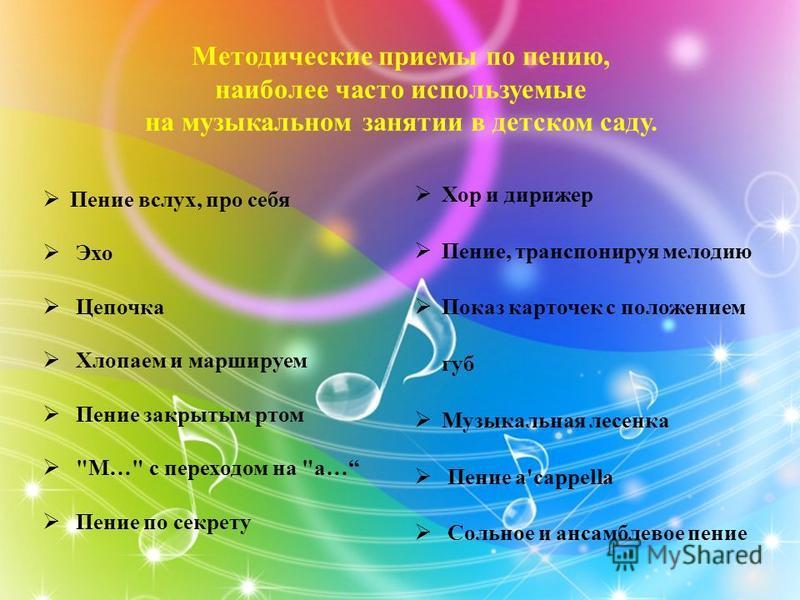 Методические приемы по пению, наиболее часто используемые на музыкальном занятии в детском саду. Пение вслух, про себя Эхо Цепочка Хлопаем и маршируем Пение закрытым ртом