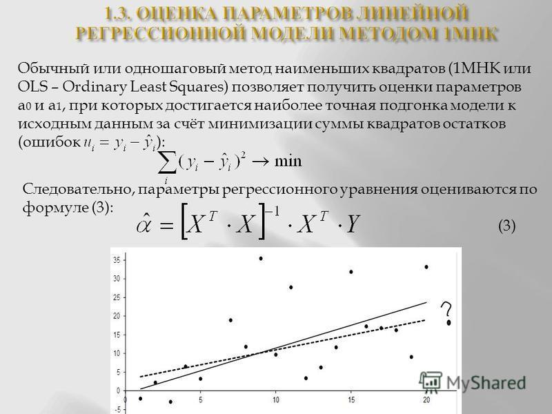 Обычный или одношаговый метод наименьших квадратов (1МНК или OLS – Ordinary Least Squares) позволяет получить оценки параметров а 0 и а 1, при которых достигается наиболее точная подгонка модели к исходным данным за счёт минимизации суммы квадратов о