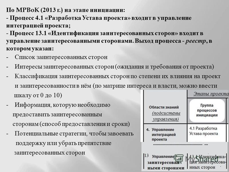По MPBoK (2013 г.) на этапе инициации : - Процесс 4.1 « Разработка Устава проекта » входит в управление интеграцией проекта ; - Процесс 13.1 « Идентификация заинтересованных сторон » входит в управление заинтересованными сторонами. Выход процесса - р