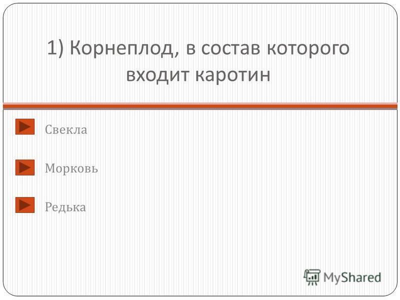 1) Корнеплод, в состав которого входит каротин Свекла Морковь Редька