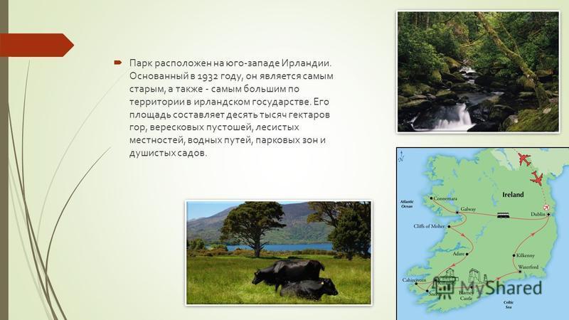 Парк расположен на юго-западе Ирландии. Основанный в 1932 году, он является самым старым, а также - самым большим по территории в ирландском государстве. Его площадь составляет десять тысяч гектаров гор, вересковых пустошей, лесистых местностей, водн